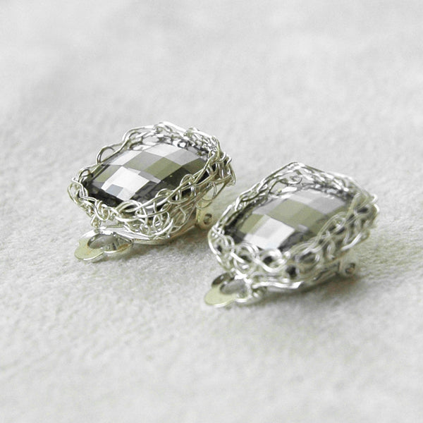 Silver CLIP ON Earrings with a Smoky Gray Swarovski Crystal , Bridal Jewelry - Yooladesign