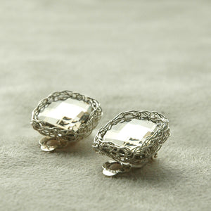 Clip on Earrings , Silver geometric earrings - Yooladesign