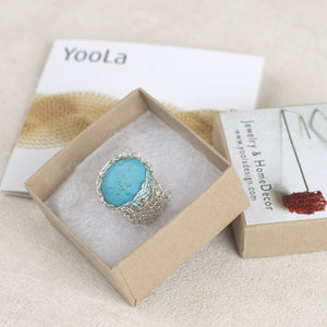 Turquoise ring stone in silver - Yooladesign