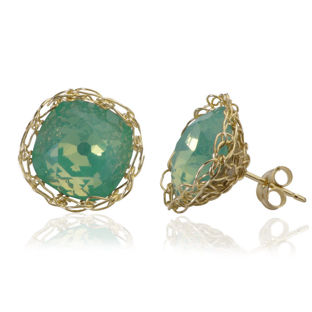 Ocean green post earrings , wire crochet gold filed mint green earrings - Yooladesign