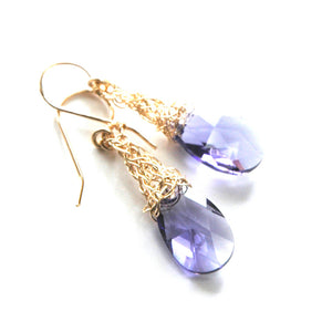 Amethyst Crystal Earrings, Gold Filled violet Swarovski - Yooladesign