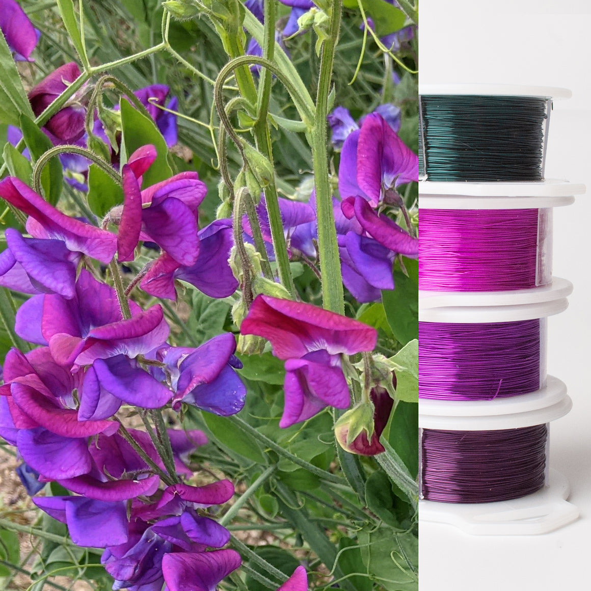 Jewelry making wire - Garden inspiration - purple sweet pea - 4 spools - YoolaDesign
