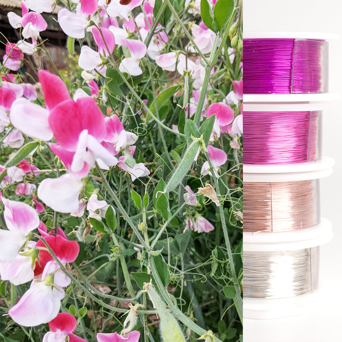 Jewelry making wire - Garden inspiration - rose sweet pea - 4 spools - YoolaDesign