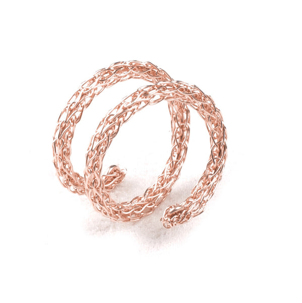Rose Gold Adjustable Spiral Ring , Layered Ring ,  Stacking Ring , Wire Crochet Jewelry ,Every Day Jewelry - Yooladesign
