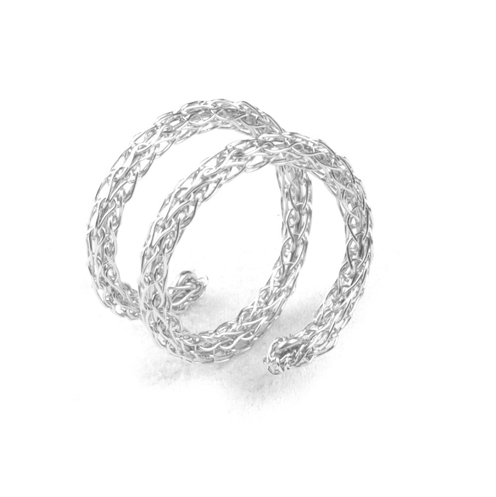 Silver Spiral Ring , Adjustable Layered Ring , Wire Crochet Stacking Ring , Every Day Jewelry - Yooladesign