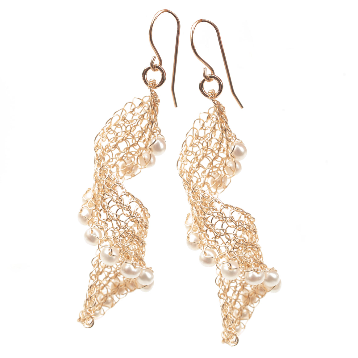 Infinity gold wire crochet earrings with pearls, long elegant knitted wire - Yooladesign
