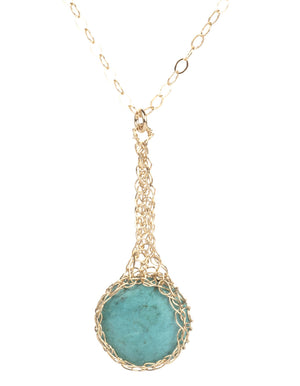 Turquoise pendant necklace , small turquoise coin crocheted in gold - Yooladesign