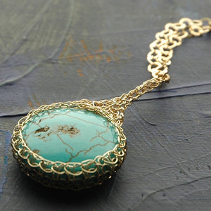 Turquoise pendant necklace wire crochet gold filled - Yooladesign