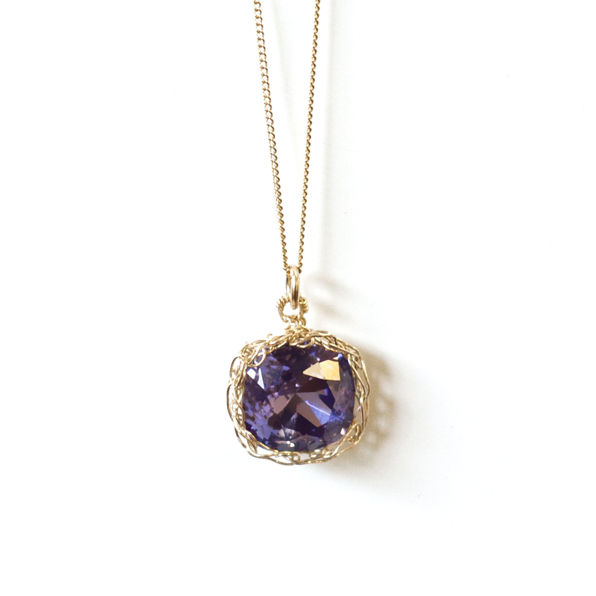 72f57c263 Deep Purple Swarovski Crystal Necklace , Purple Pendant in a Gold Wire  Crochet Nest , Bridesmaids