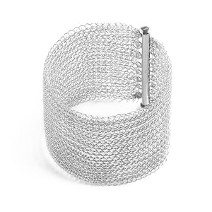Wide Silver Magnet Clasp for wire crochet bracelet - Yooladesign
