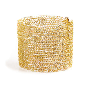 Gold Cuff Bracelet , Wide knitted Cuff , gold filled - Yooladesign