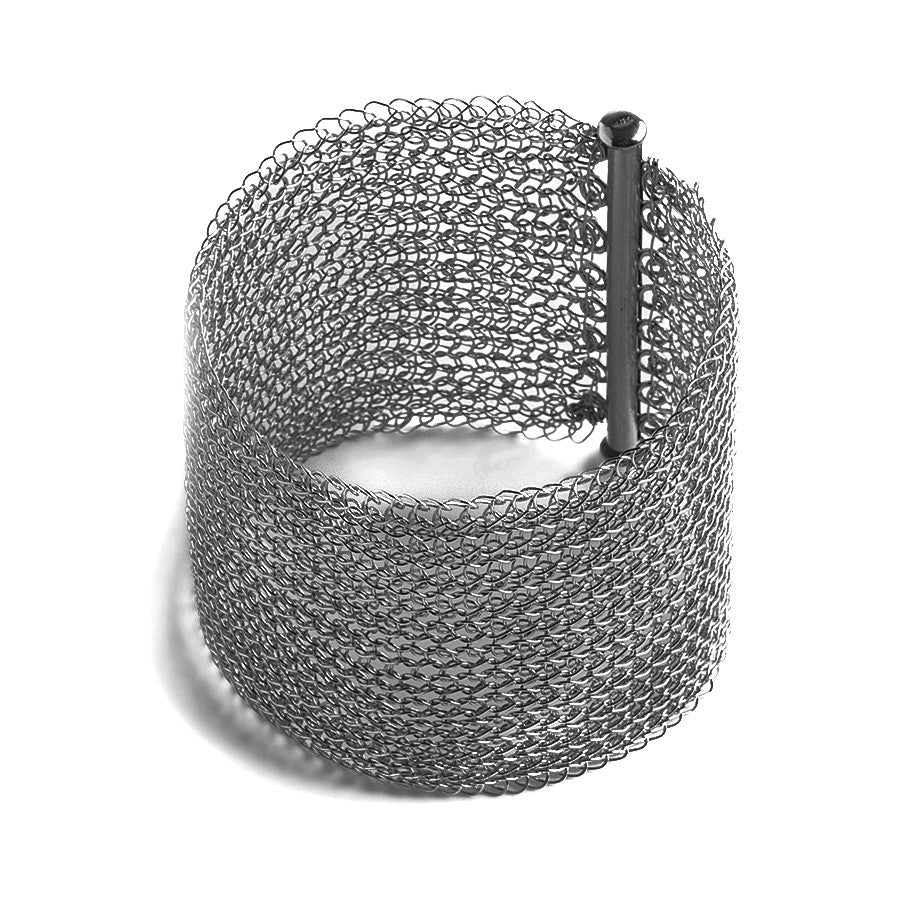 Wide Oxidized Silver Cuff Bracelet , Wire Crochet Cuff,  Handmade Urban Jewelry , Fashion Forward - Yooladesign