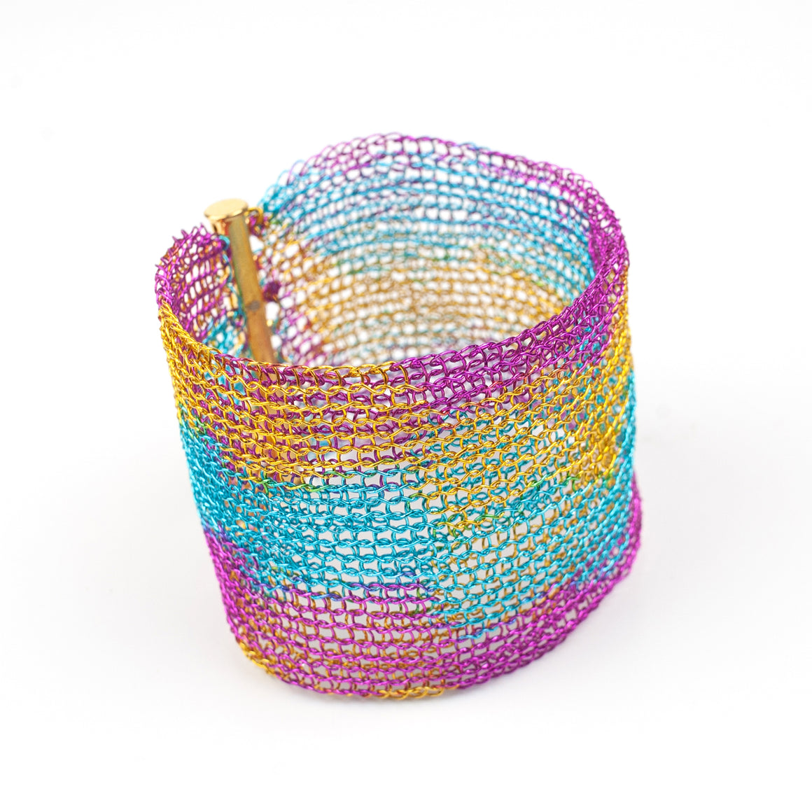 RAINBOW Cuff Bracelet , Wide knitted Cuff, Statement Bracelet - Yooladesign