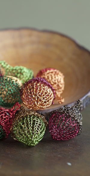 Wire Crochet Home Accents - Autumn Decorations - Copper Acorn - Multicolored Acorns - Yooladesign
