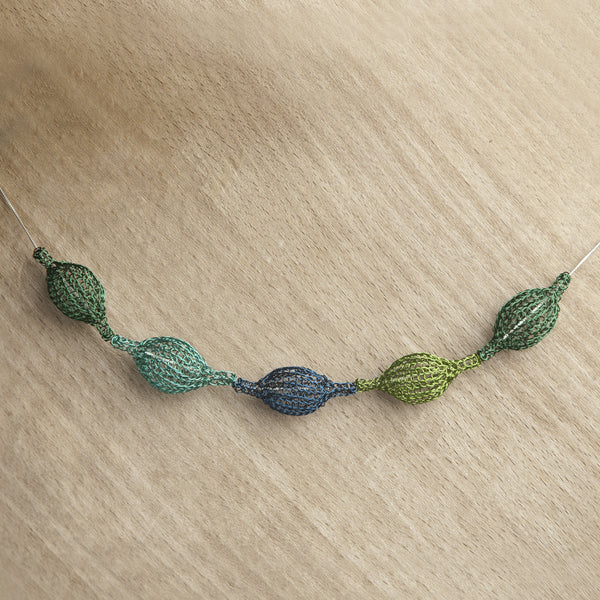 Wire Crochet Necklace - forest green organic necklace - Yooladesign