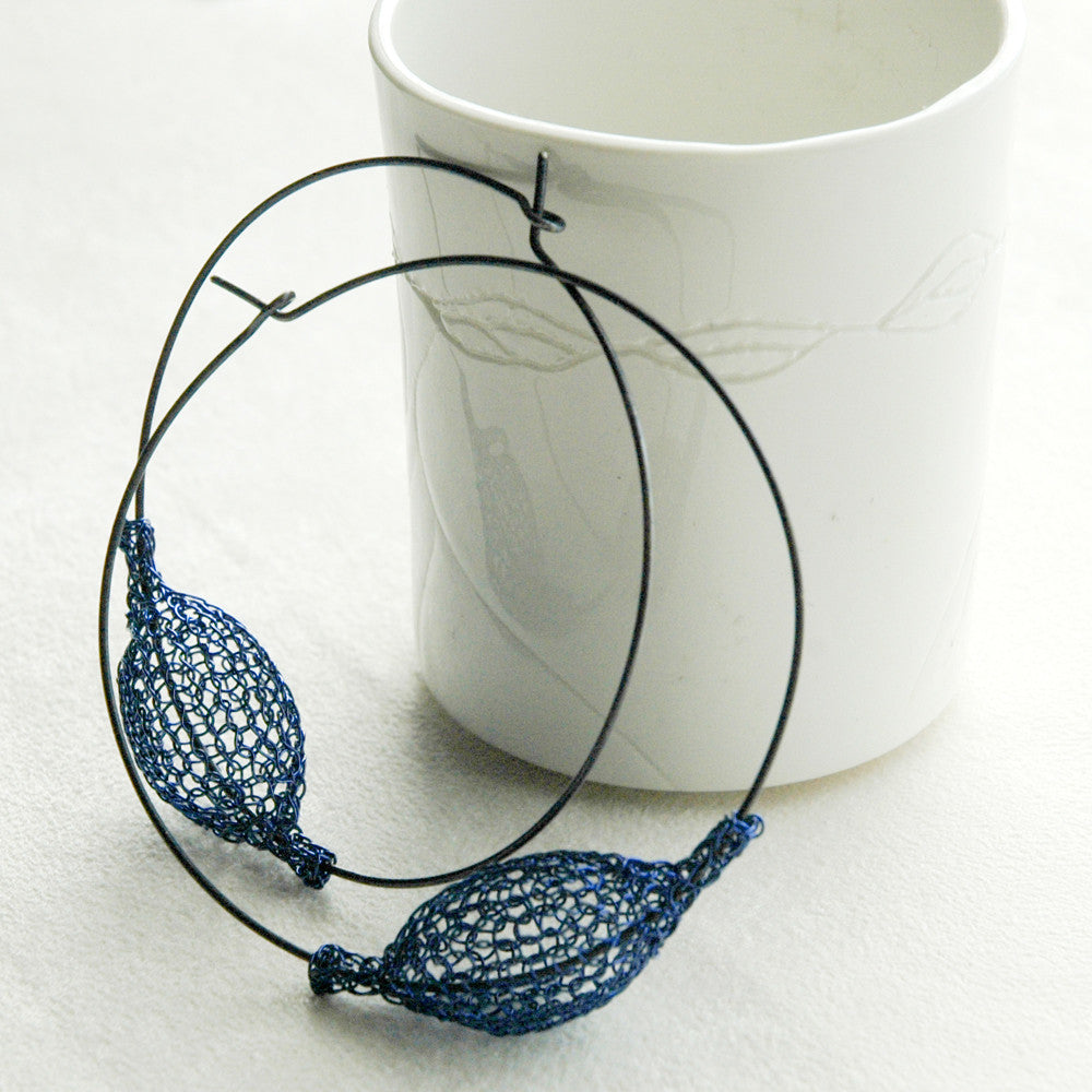 Urban Silver Hoop Earrings , Oxidized Silver and Blue pod bead , wire crochet jewelry - Yooladesign