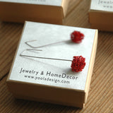 Amber Crystal Stud Earrings , Bridesmaids Gift , Original Swarovski - Yooladesign