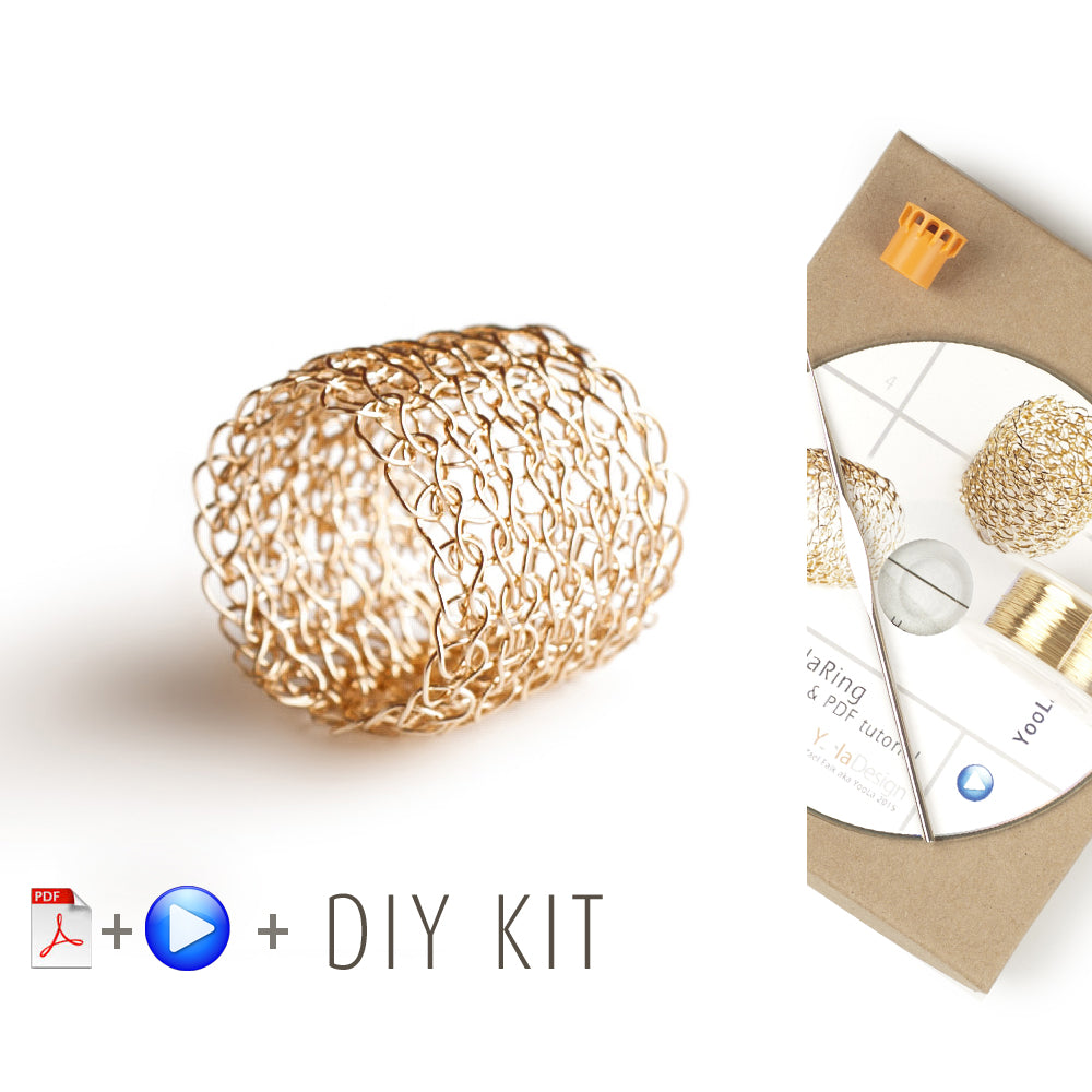 How to wire crochet a band ring - DIY kit - Yooladesign