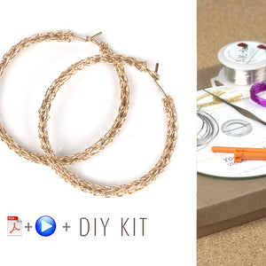 How to wire crochet hoop earrings - DIY kit - Yooladesign