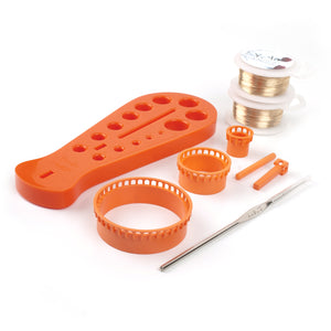 Extended Wire Crochet Supply Kit , 2 extra long wire spools, 4 pc ISK starter looms and more - YoolaDesign