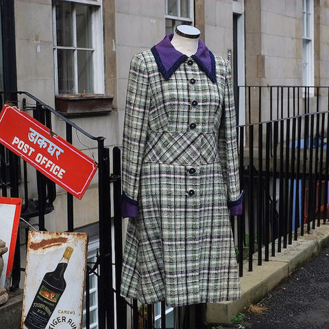Early Seventies green plaid wool coat with a purple collar