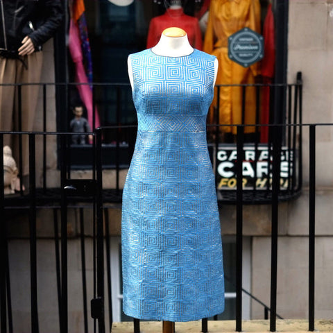 {{{SOLD}}}Blue with a Geometric patterned Gold Brocade Sixties Cocktail Dress