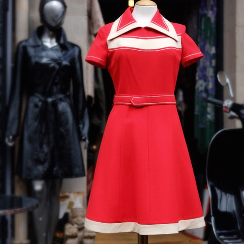 "{{{SOLD}}} Sixties ""Orphan Annie"" Mod Style red scooter dress"