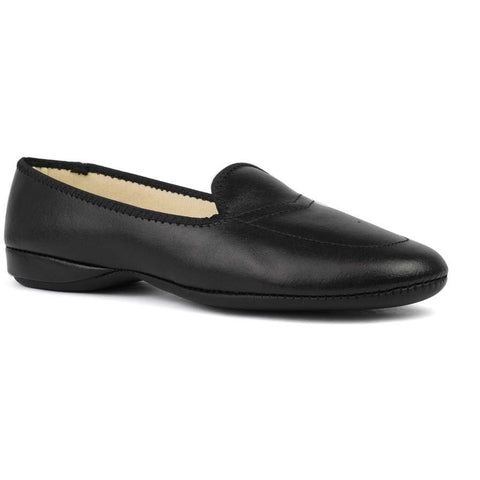 Meg Black Leather Slippers