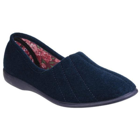 Audrey  Navy Memory Slippers