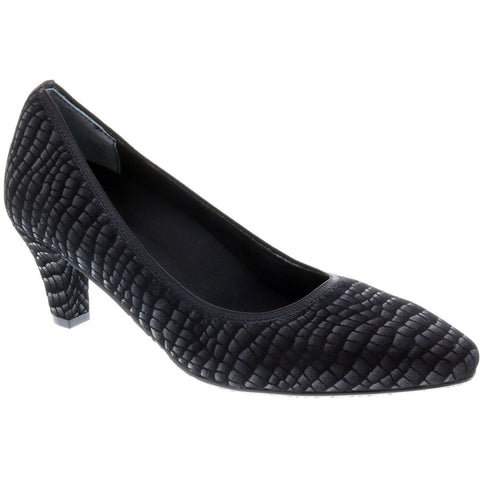 Karat Matt Black Croc Court Shoes