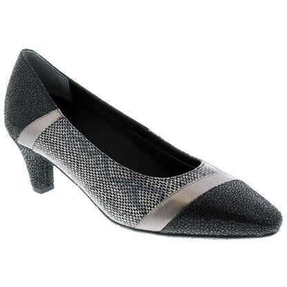 Kiwi Black Pewter Lizard Court Shoes