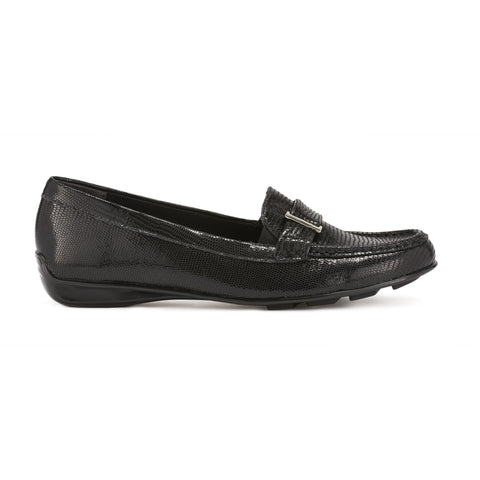 March Black Patent Lizard Loafer