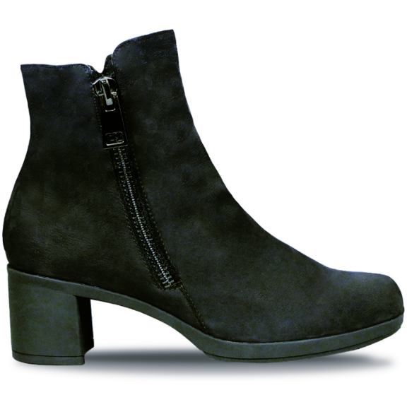 Devon Black Pebbled Nubuck Ankle Boots