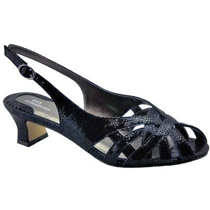 Pearl Black Lizard Slingbacks