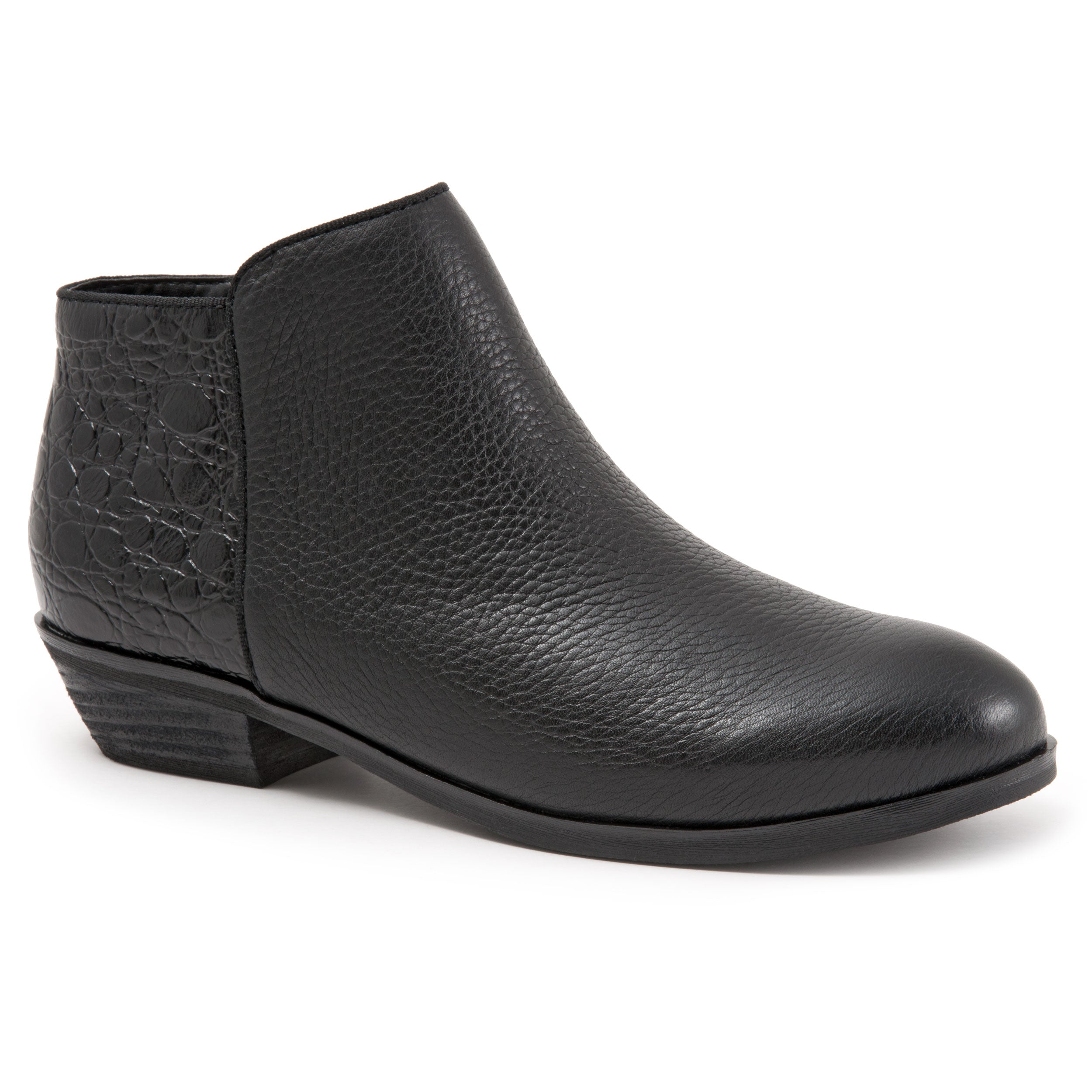 Rocklin Black Croc Ankle Boots