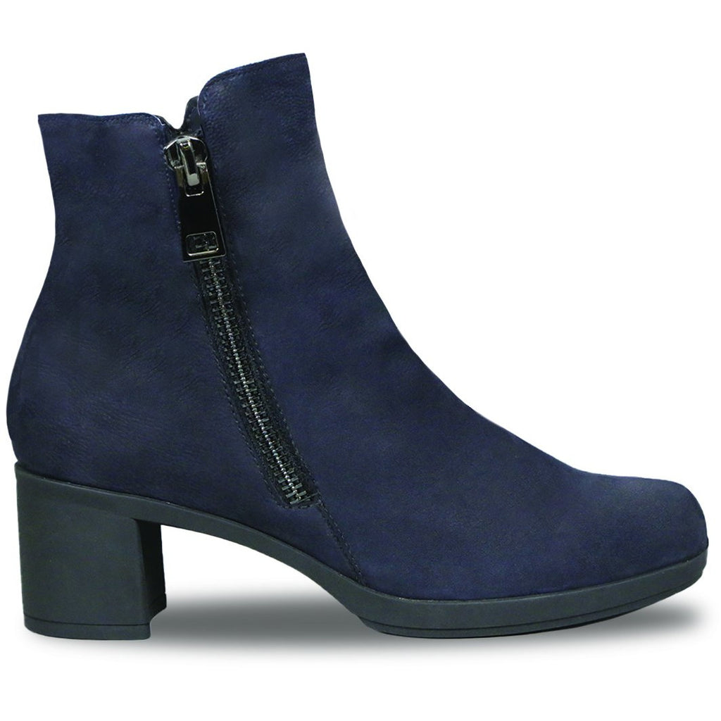 Devon Blue Nubuck Pebbled Ankle Boots