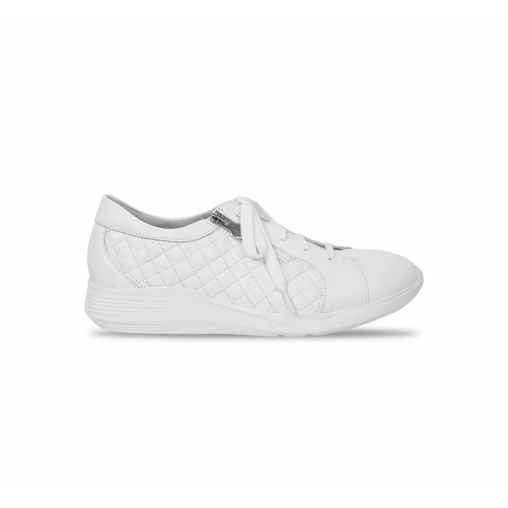 Emmie White Quilted Casual Lace Shoes