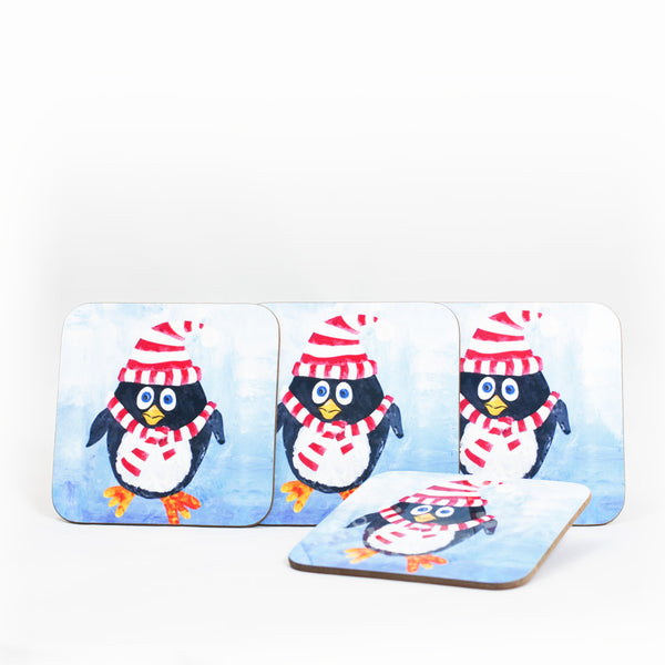 Seasonal Penguin Coasters – pack of 4