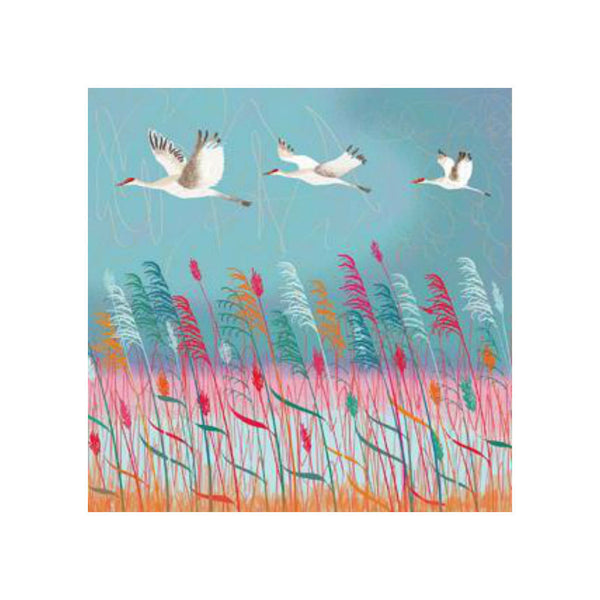 Red Cranes Greetings Card