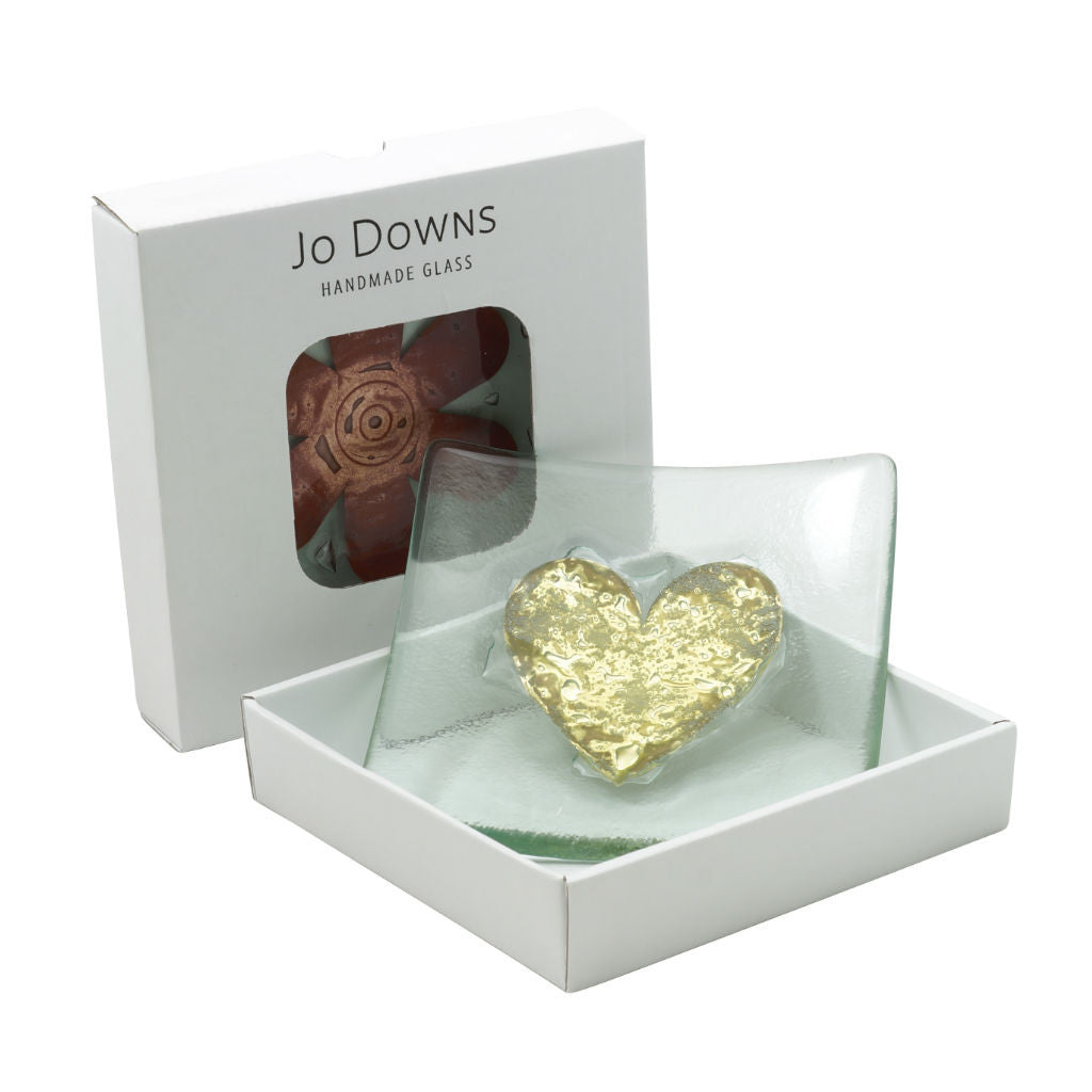 Heart Glass Flower Bowl 14cm