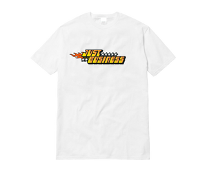 "Open image in slideshow, WHITE ""JUST BUSINESS"" TEE (Choose Your Design)"