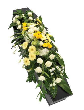 Yellow and White Casket Spray (Regular)