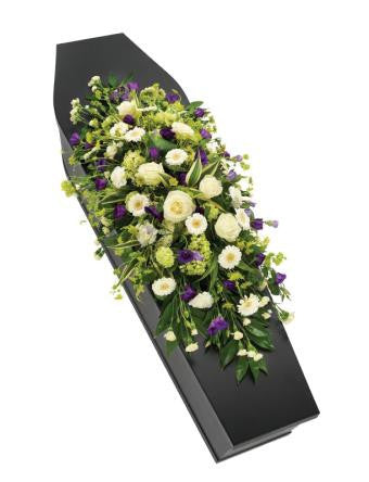 Purple and White Casket Spray (Regular)