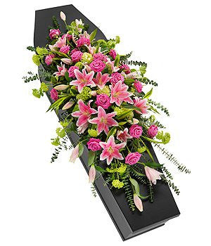 Pink Rose and Lily Casket Spray (Regular)