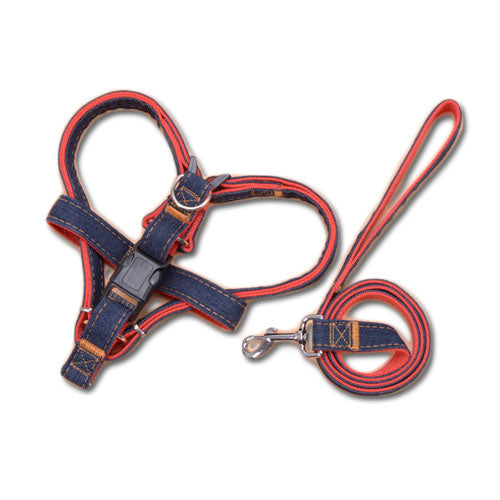 Denim Pet Harness And Leash Set - Mr Fluffy Singapore Online Pet Store