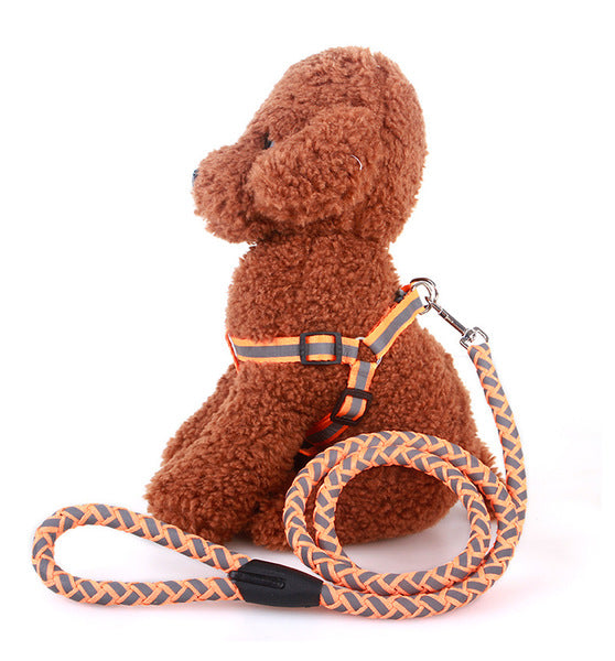 Reflective Pet Harness And Round Leash - Mr Fluffy Singapore Online Pet Store