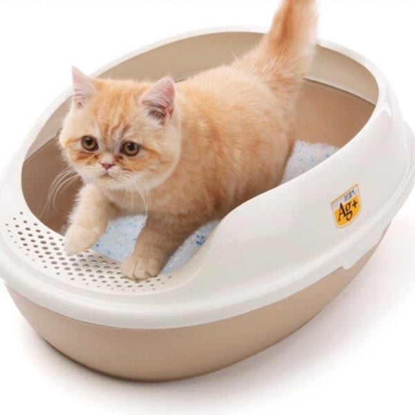 Cat Litter Box With Footboard & Free Scoop - Mr Fluffy Singapore Online Pet Store