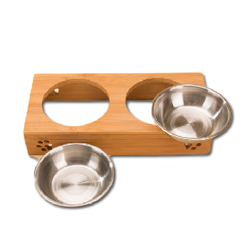 Double Raised Stainless Steel Bowls With Bamboo Stand - Mr Fluffy Singapore Online Pet Store