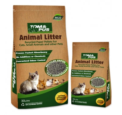 Tom & Pus Recycled Paper Cat Litter 30L - Mr Fluffy Singapore Online Pet Store