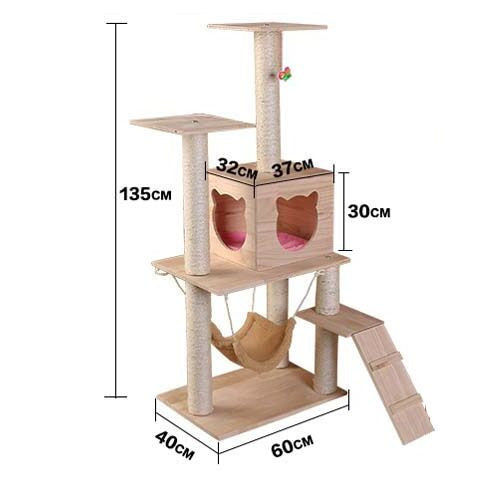 Wooden Cat Tree - Mr Fluffy Singapore Online Pet Store